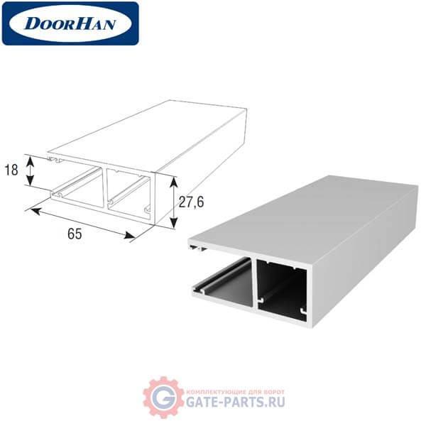 RG65BS08 DoorHan Направляющий профиль RG65BS08 под вставку-щетку усиленный серебристый (п/м)