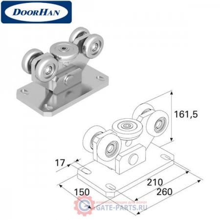 DHE100 DOORHAN Опора роликовая для балки 95х88х5 облегченная (шт.)