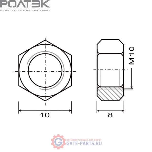 КК.934 М10 РОЛТЭК Комплект гаек М10, 10 шт. (комплект)