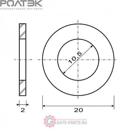 КК.125 М10 РОЛТЭК Комплект шайб Ф10 мм, 20 шт. (комплект)