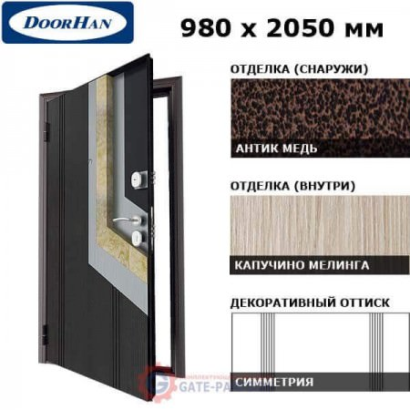 D-980-LS/AM/CM/R/N/sv Doorhan Дверь ЛамиСтайл (S) - 980х2050, правая (шт.)