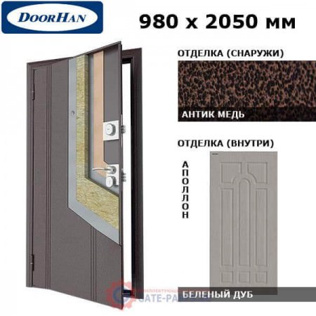 D-980-OO/AM/MPWO/AP/L/N/v Doorhan Дверь Оптим(O) - 980х2050, левая (шт.)