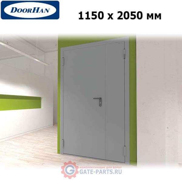 DTG/1150/2050/7035/L/N Doorhan Дверь техническая 1150х2050 двухстворчатая, глухая, левая (шт.)