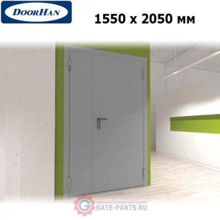 DTG/1550/2050/7035/R/N Doorhan Дверь техническая 1550х2050 двухстворчатая, глухая, правая (шт.)