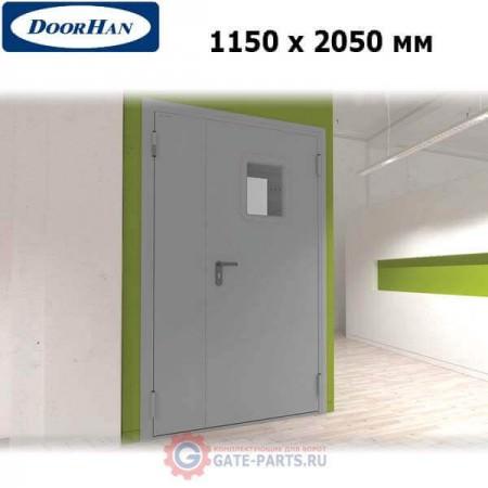 DTO1/1150/2050/7035/R/N Doorhan Дверь техническая 1150х2050 двухстворчатая, остекленная, правая (шт.)