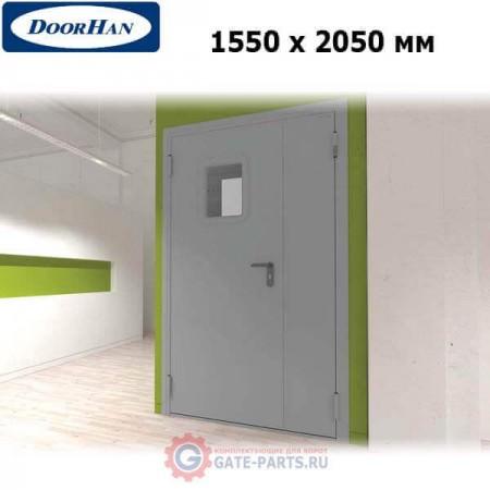 DTO1/1550/2050/7035/L/N Doorhan Дверь техническая 1550х2050 двухстворчатая, остекленная, левая (шт.)