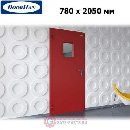 DPO60/780/2050/7035/L/N Doorhan Дверь противопожарная 780х2050 одностворчатая, остекленная, левая, EI60 (шт.)
