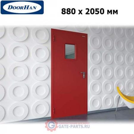 DPO60/880/2050/7035/L/N Doorhan Дверь противопожарная 880х2050 одностворчатая, остекленная, левая, EI60 (шт.)