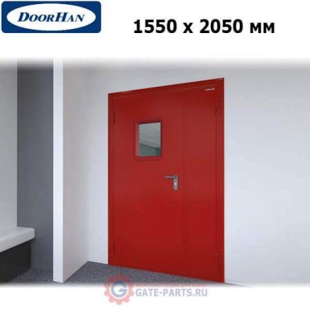 DPO601/1550/2050/7035/L/N Doorhan Дверь противопожарная 1550х2050 двухстворчатая, остекленная, левая, EI60 (шт.)