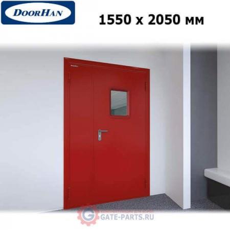 DPO601/1550/2050/7035/R/N Doorhan Дверь противопожарная 1550х2050 двухстворчатая, остекленная, правая, EI60 (шт.)