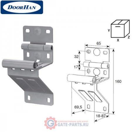 N25234/RAL9003 DOORHAN Боковая опора укороченная для панелей с новой формой профиля RAL9003 (шт.)