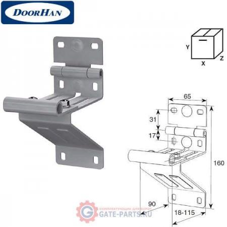 N25234-3/RAL9003 DOORHAN Боковая опора удлиненная для панелей с новой формой профиля RAL9003 (шт.)