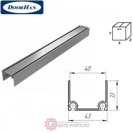 80041/M DOORHAN Алюминиевый верхний и нижний профиль металлик (п/м)