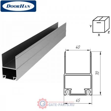 DHSW-00060/M DOORHAN Профиль алюминиевый нижний несущий металлик (п/м)